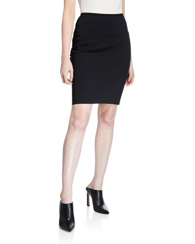 Bonded Jersey Back-Cutout Pencil Skirt