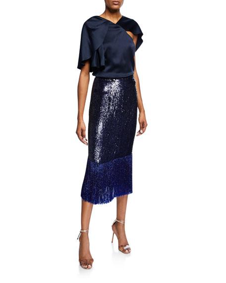 Sequined & Beaded Fringe-Hem Midi Skirt, Navy