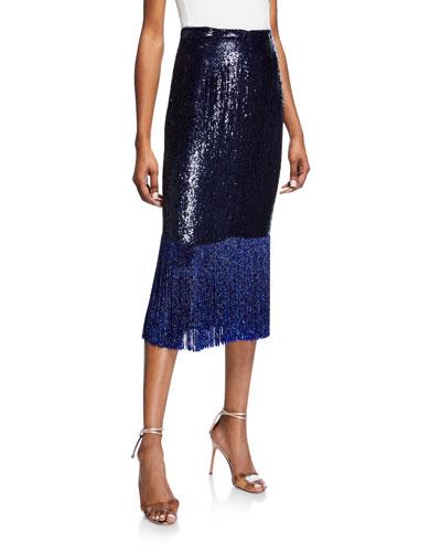 Sequined & Beaded Fringe-Hem Midi Skirt  Navy