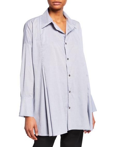 Cotton Button-Front Swing Shirt