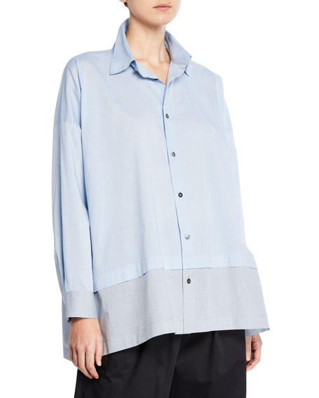 Lightweight-Melange Shirting Button-Front Shirt