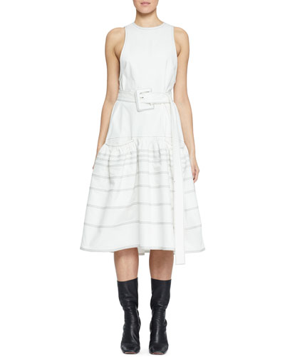 Belted Drop-Waist Cotton Dress with Pockets