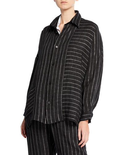 Delave Linen Button-Front Striped Shirt Jacket