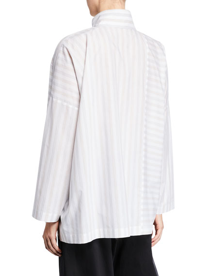 Faded-Stripe Button Front Shirt
