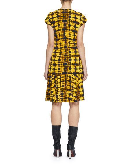 Cap-Sleeve Tie-Dye Dress