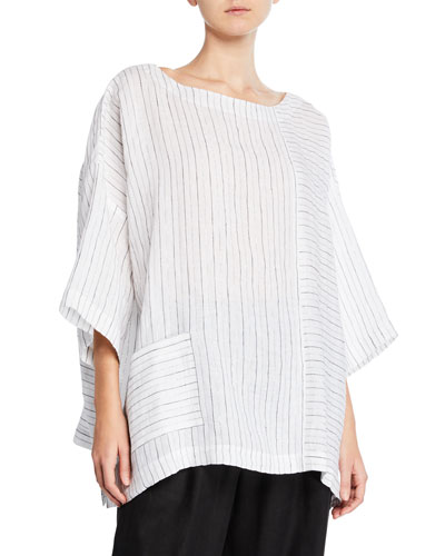 3/4-Sleeve Striped Linen Tunic
