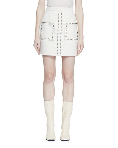 Studded Patch-Pocket Mini Skirt