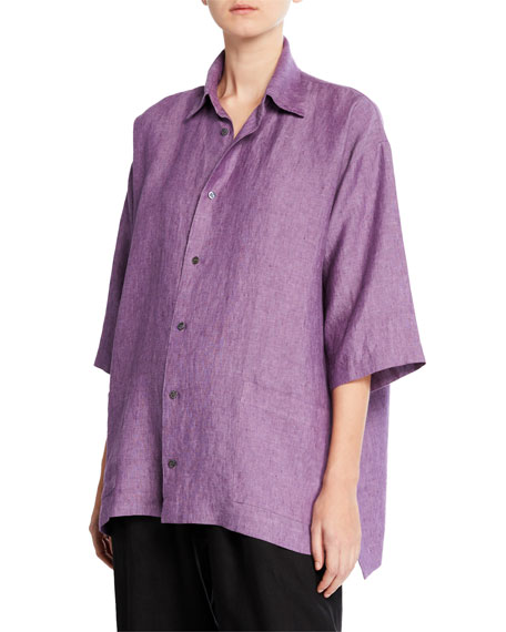 Melange Linen Button-Front Shirt