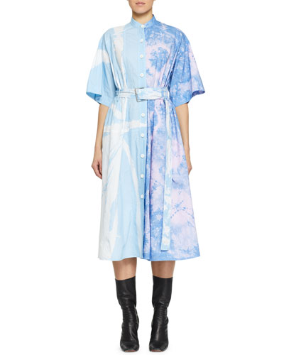 Belted Tie-Dye Cotton Midi Dress