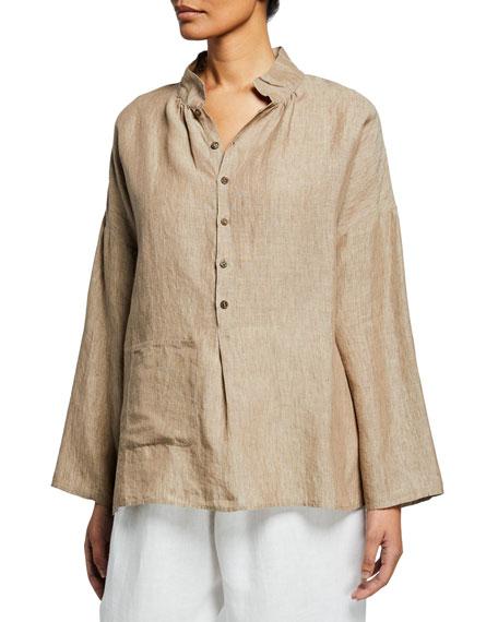 Eskandar Melange Linen Sloped-Shoulder Smock Shirt