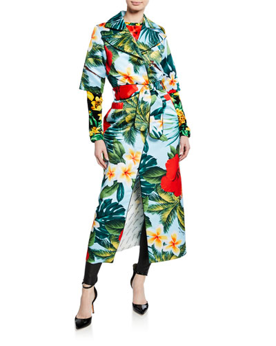 Hawaiian Floral Tie-Waist Shirtdress