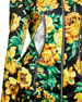 Floral Zip-Front Long Biker Jacket