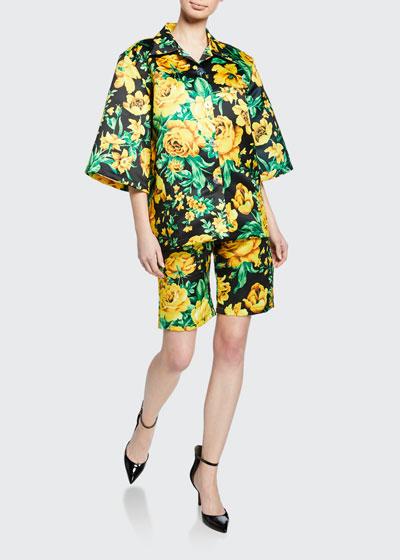 Floral Satin Biker Shorts