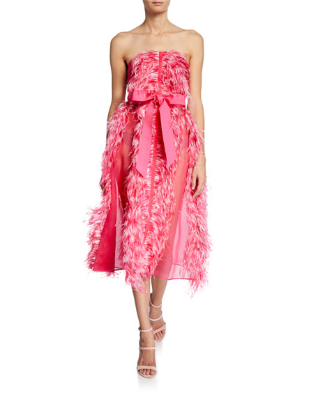 Huishan Zhang Strapless Feather Organza Cocktail Dress