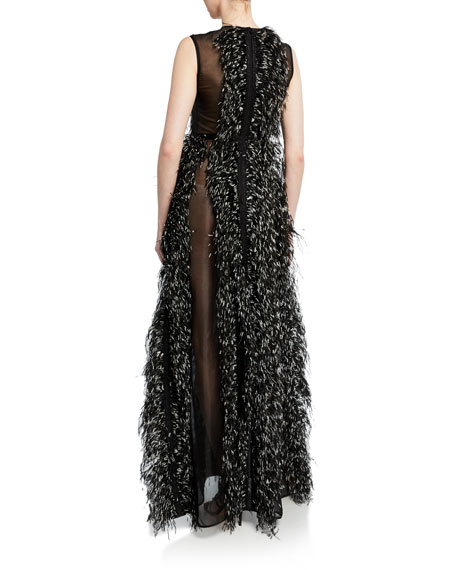 Sleeveless Tie-Dye Feathered Tulle Gown