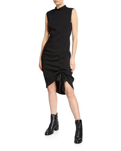 Sleeveless Ribbon-Cinched Cocktail Dress