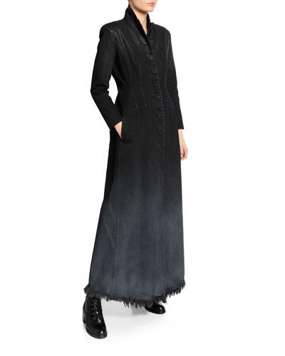 Button-Front Long Denim Coat