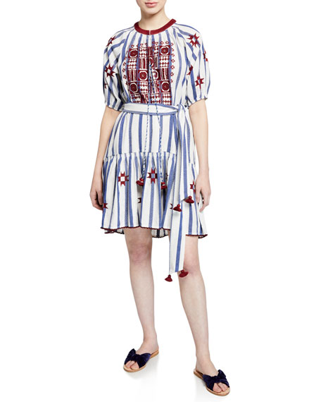 Bria Embroidered Striped Dress