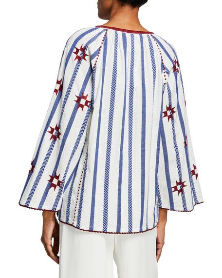 Nikita Striped Embroidered Peasant Top