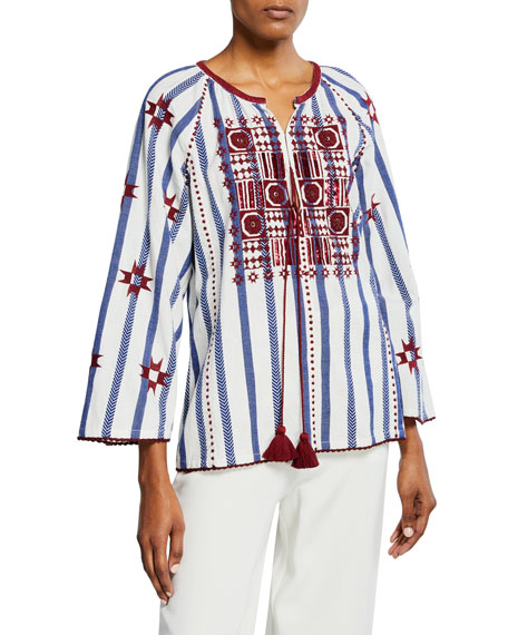 Image 1 of 1: Nikita Striped Embroidered Peasant Top