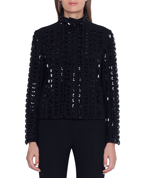 Akris Andorra Stone-Embellished Zip Front Jacket