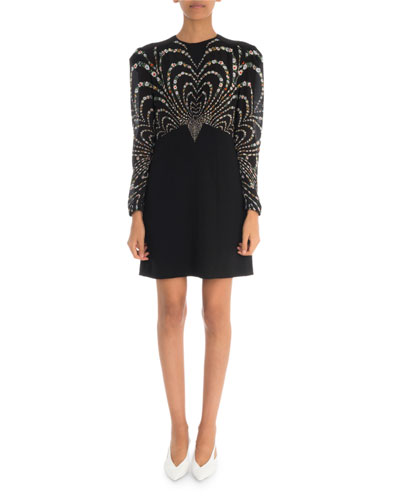 55b4199fdf Sheer-Sleeve Floral Mini Dress Quick Look. Givenchy
