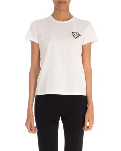 Heart-Embellished Logo-Graphic Short-Sleeve Tee
