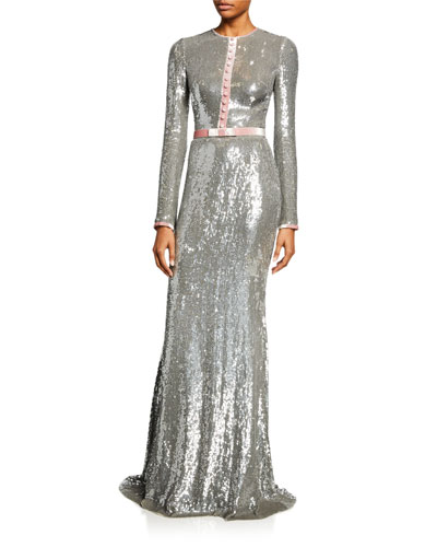 Sequin Long-Sleeve Tuxedo Gown