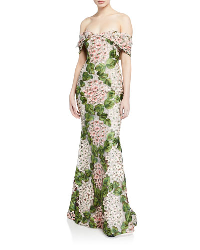 Floral-Embellished Off-The-Shoulder Gown