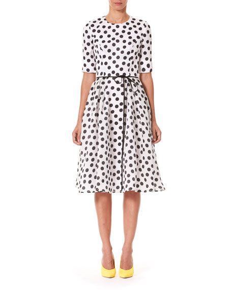 Carolina Herrera POLKA-DOT FIT & FLARE MIDI DRESS