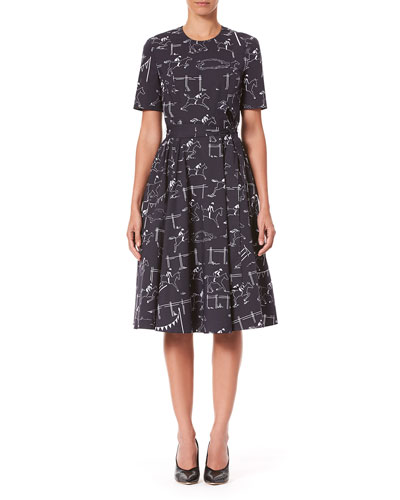 Short-Sleeve Equestrian-Print Poplin Dress