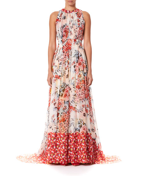 Carolina Herrera FLORAL-PRINT GATHERED SILK FLOOR GOWN