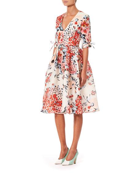 1/2-Sleeve V-Neck Floral-Print Dress
