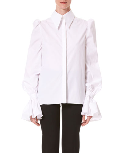 Puff Sleeve Ruffled Button-Front Shirt