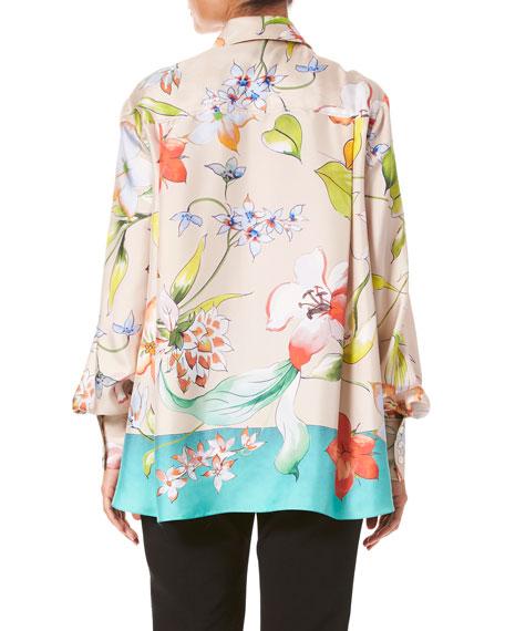 Long-Sleeve Floral-Print Silk Button-Front Shirt
