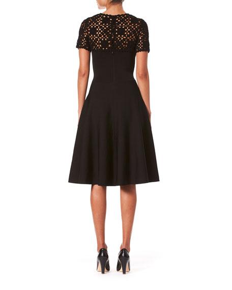 Macrame Yoke Short-Sleeve Midi Dress