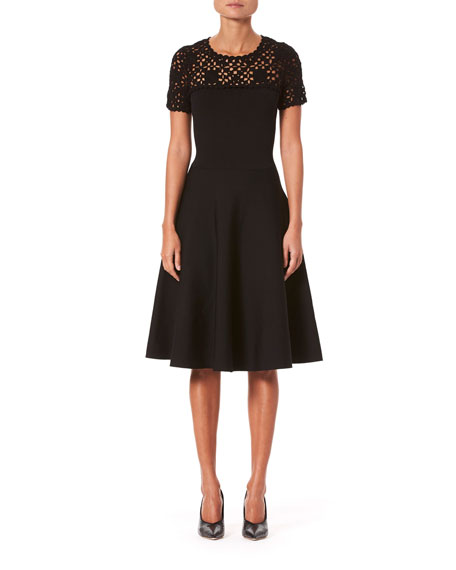 Carolina Herrera Macrame Yoke Short-Sleeve Midi Dress