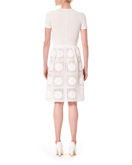 Short-Sleeve Macrame Knit-Skirt Dress