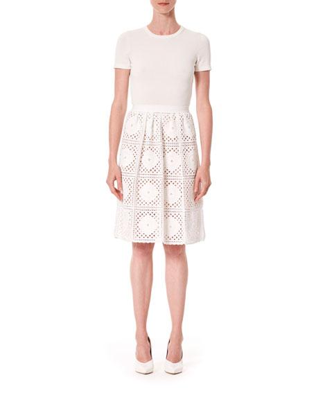 Carolina Herrera Short-Sleeve Macrame Knit-Skirt Dress