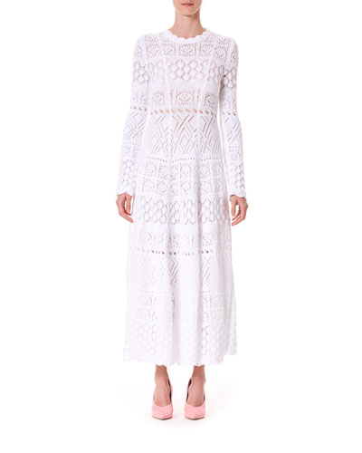 Long-Sleeve Macrame Midi Dress