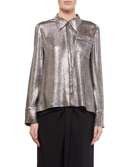 Roland Mouret Long-Sleeve Button-Front Shimmer Shirt