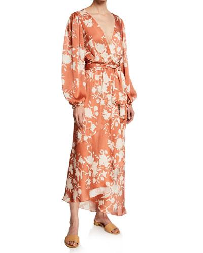Floral Crinkled Georgette Wrap Dress