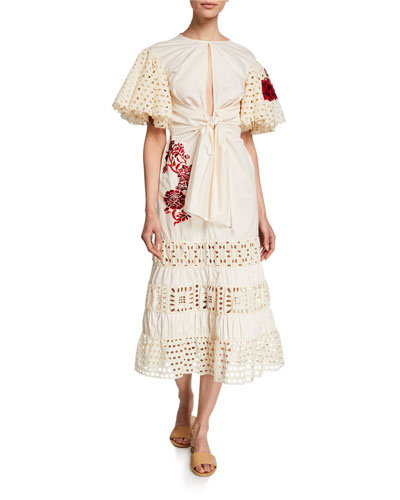 Eyelet-Trim Floral Embroidered Poplin Dress