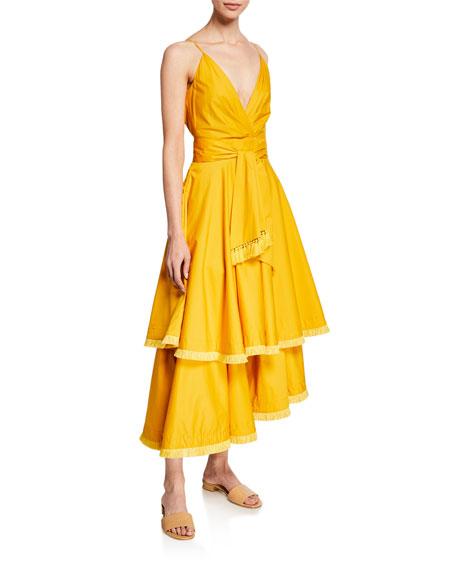 Johanna Ortiz V-Neck Stretch Poplin Dress