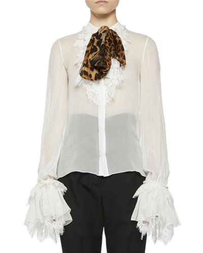 Ruffle-Sleeve Button Front Blouse