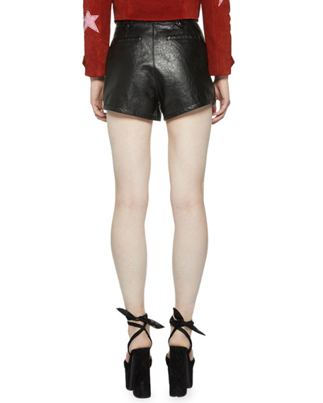 High-Rise Python and Leather Shorts
