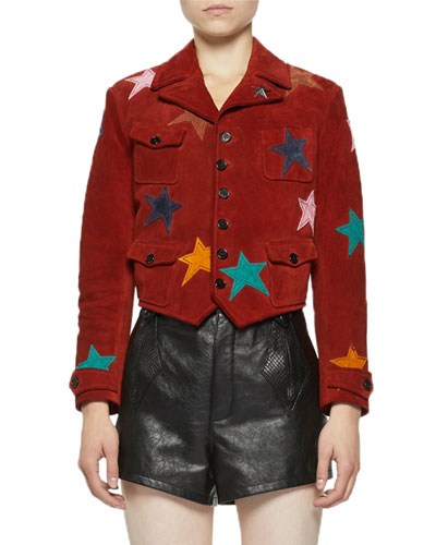 Star-Patch Suede Moto Jacket