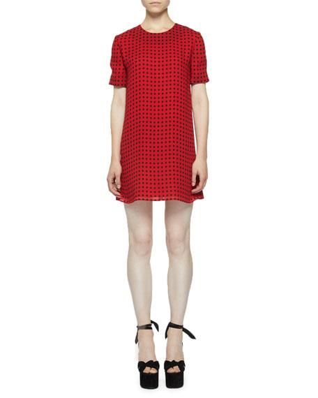 Star-Print Short-Sleeve Mini Shift Dress