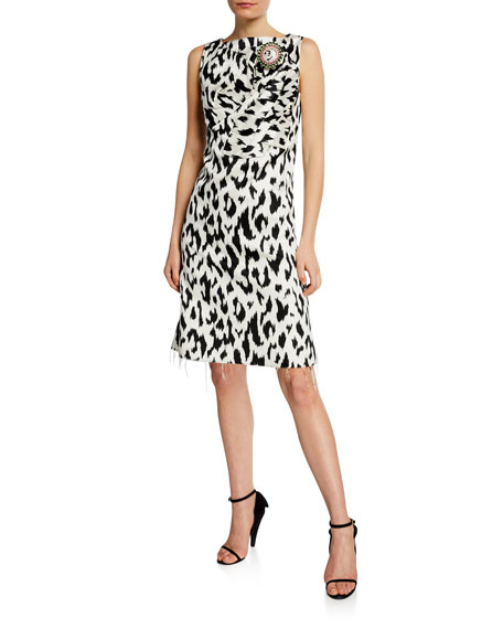 Leopard-Print Dress with Crushed Bow & Crystal Pin