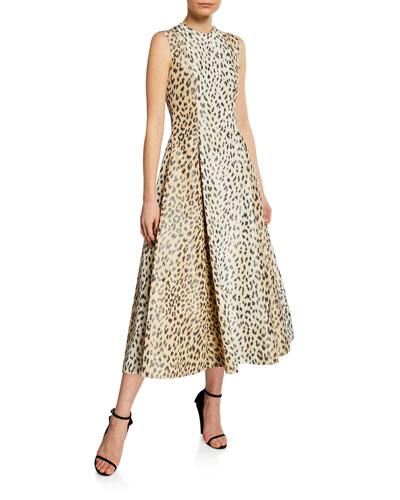 Sleeveless Leopard-Print Silk Midi Dress